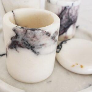 Mermer Beyaz Banyo Seti 5 Parça