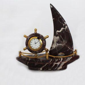 Mermer Gemi Saat Kırmızı 22x22x8cm