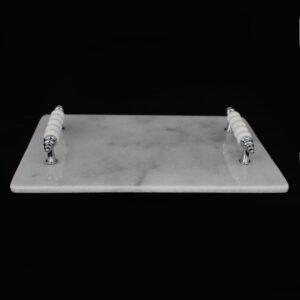 Gümüş Boncuk Kulplu Tepsi